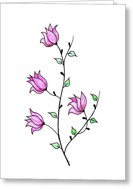 Twig And Flowers Greeting Card