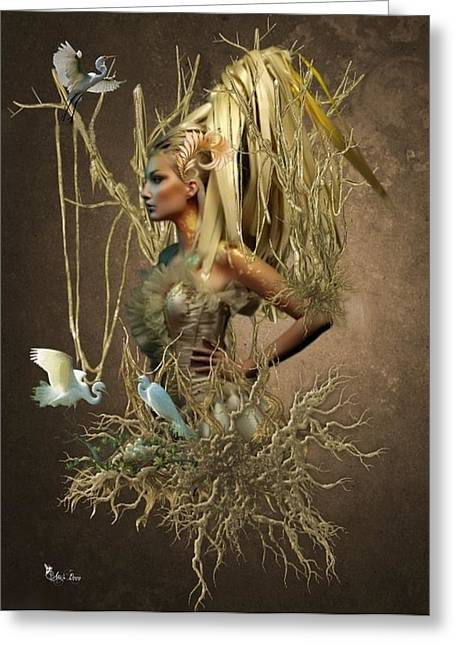 Twiggy Greeting Card by Ali Oppy