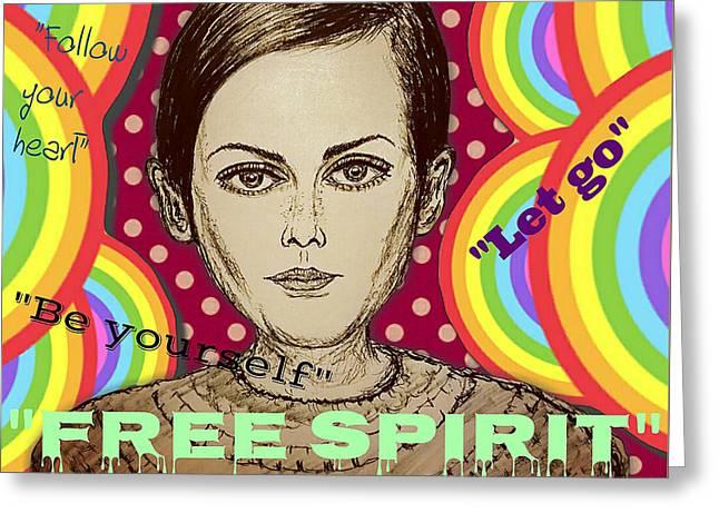 Twiggy - Free Spirit Greeting Card by Evelyn Yu