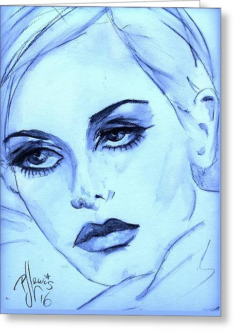 Twiggy In Blue Greeting Card by P J Lewis