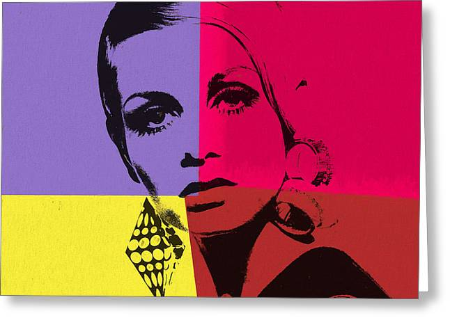 Twiggy Pop Art 1 Greeting Card by Dan Sproul