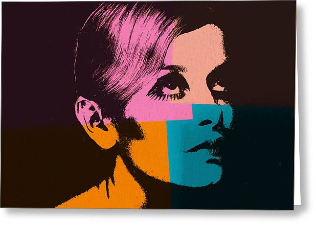 Twiggy Pop Art 2 Greeting Card by Dan Sproul