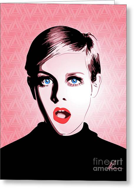 Twiggy - Pop Art - Digital Art Greeting Card