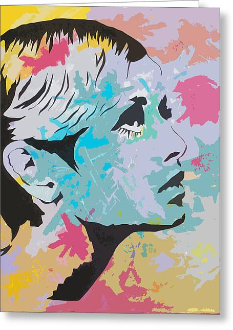 Twiggy Pop Art Portrait Greeting Card by Andrew  Orton