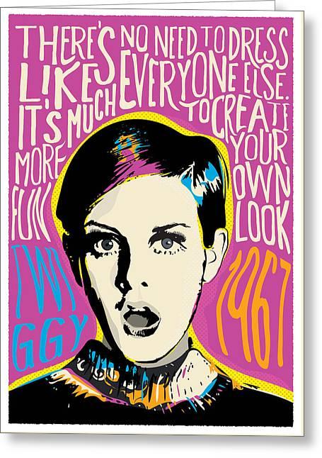 Twiggy Pop Art Portrait Greeting Card