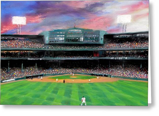 Boston Red Greeting Cards - Twilight at Fenway Park Greeting Card by Jack Skinner