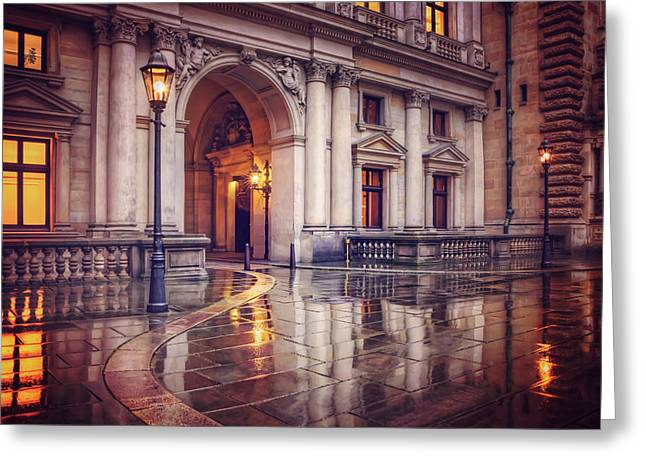 Greeting Card featuring the photograph Twilight At Hamburg Town Hall Courtyard  by Carol Japp
