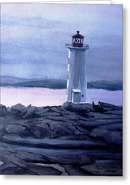 Greeting Card featuring the painting Twilight At Peggy's Cove by Patricia L Davidson