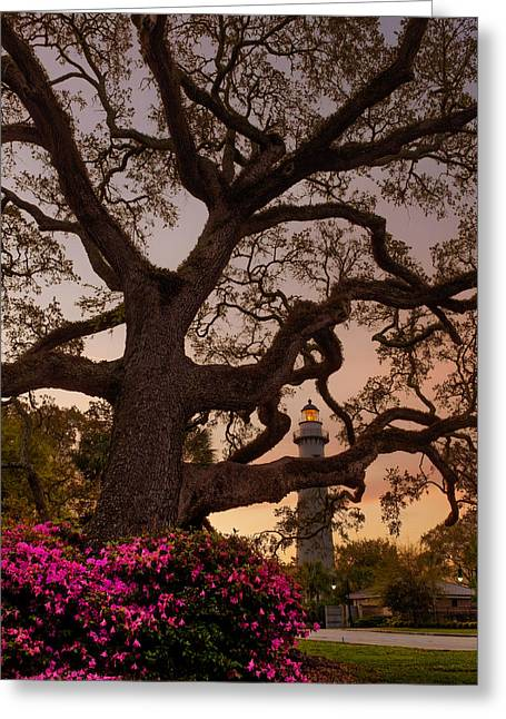 Twilight At St. Simons Lighthouse Greeting Card