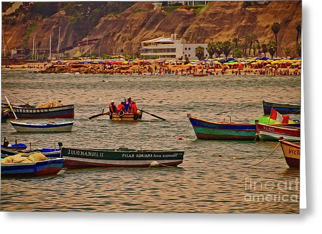 Greeting Card featuring the photograph Twilight At The Beach, Miraflores, Peru by Mary Machare