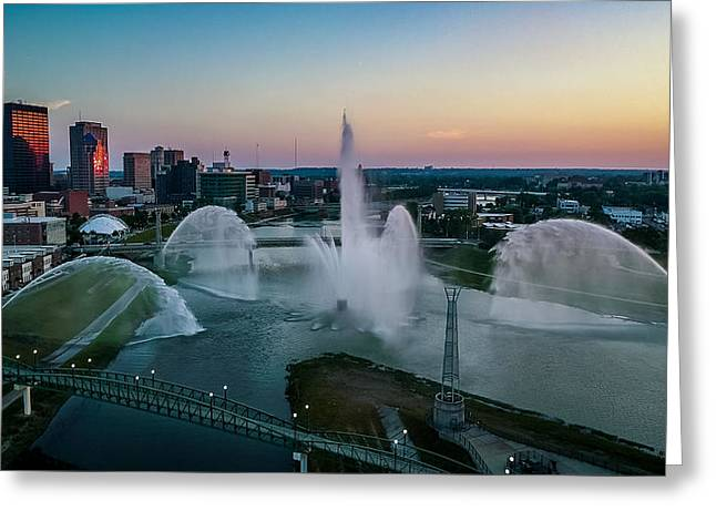 Twilight At The Fountains Greeting Card