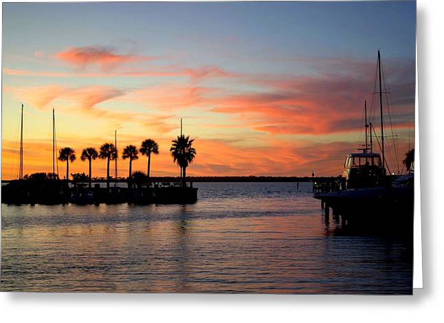 Twilight At The Marina Greeting Card