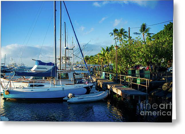 Twilight At The Marina Lahaina Harbour Maui Hawaii Greeting Card
