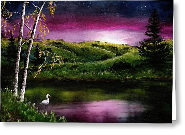 Twilight At Vasona Lake Greeting Card by Laura Iverson