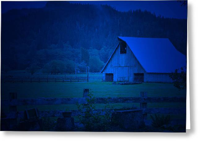 Twilight Barn Greeting Card