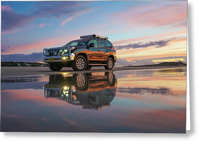 Twilight Beach Reflections And 4wd Car Greeting Card