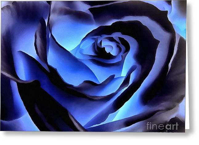 Twilight Blue Rose  Greeting Card by Janine Riley