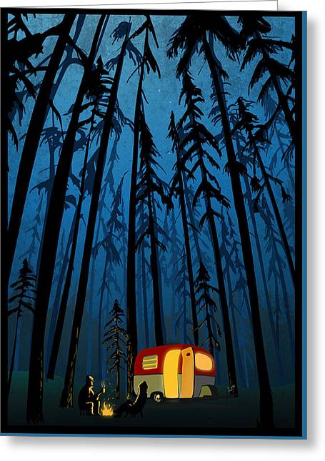 Twilight Camping Greeting Card by Sassan Filsoof