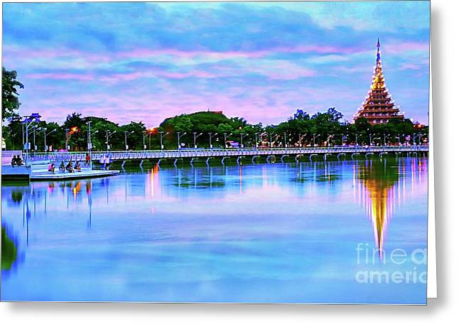 Twilight City Lake View Greeting Card