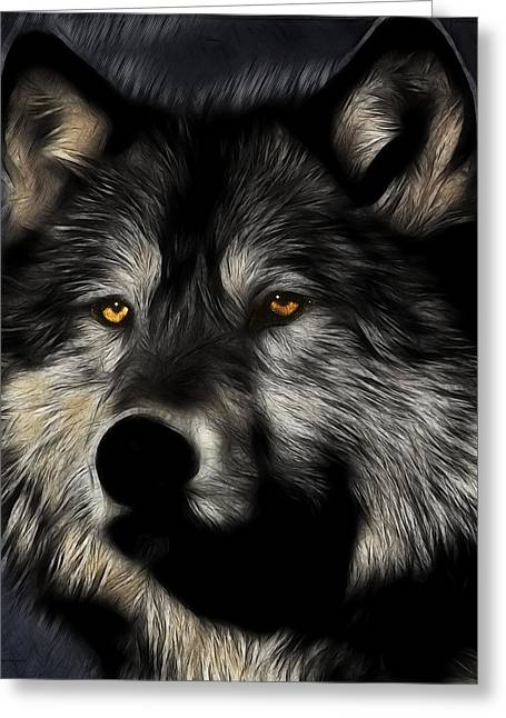 Twilight Eyes Of The Lone Wolf Greeting Card by Wingsdomain Art and Photography
