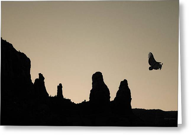 Twilight Flight Toned Greeting Card by David Gordon