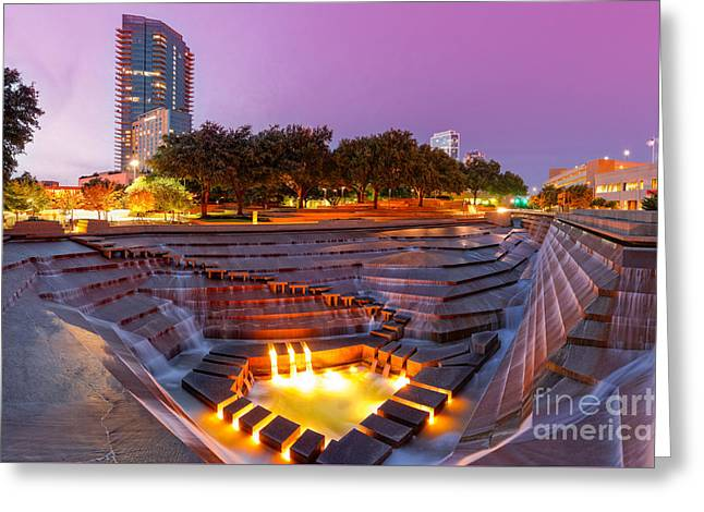 Twilight Glow At Fort Worth Water Gardens Downtown Fort Worth Texas Photograph By Silvio Ligutti