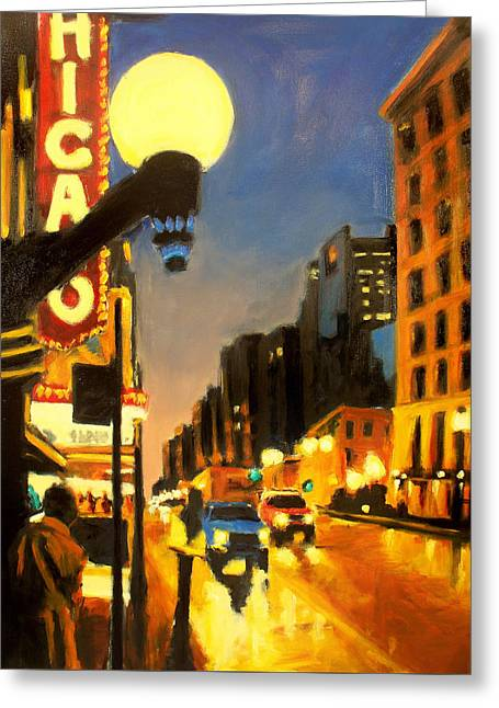 Twilight In Chicago - The Watcher Greeting Card by Robert Reeves