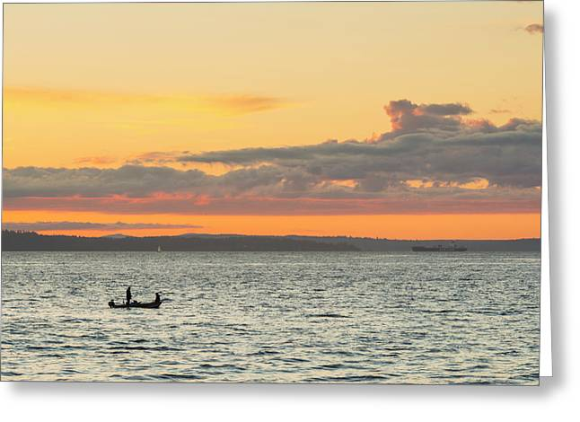 Twilight In Puget Sound  Greeting Card