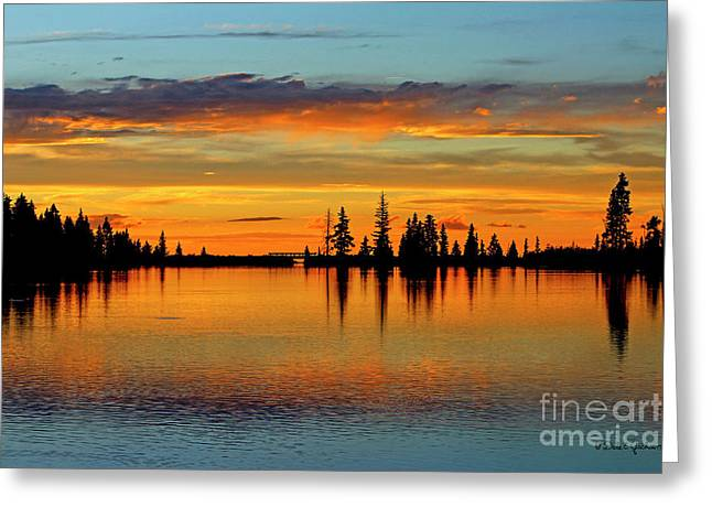 Twilight Lake Reflections In Colorado Greeting Card