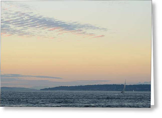 Twilight Moment In Puget Sound Greeting Card