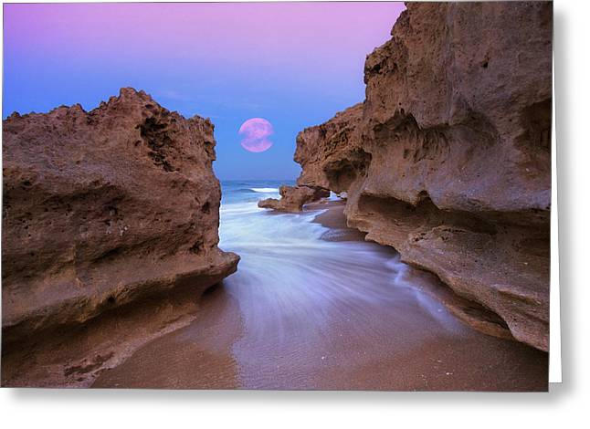 Greeting Card featuring the photograph Twilight Moon Rising Over Hutchinson Island Beach Rocks by Justin Kelefas