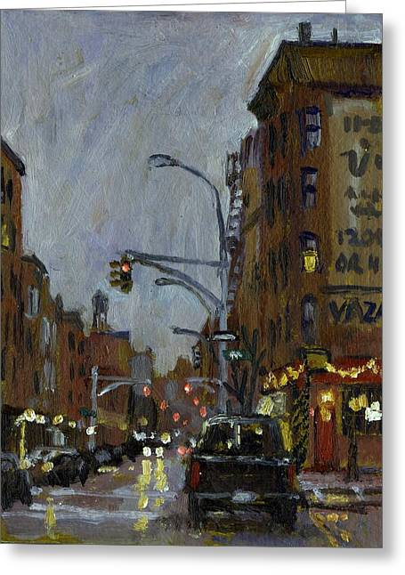 Twilight On 7th And Avenue B Vazac Bar Nyc Greeting Card by Thor Wickstrom