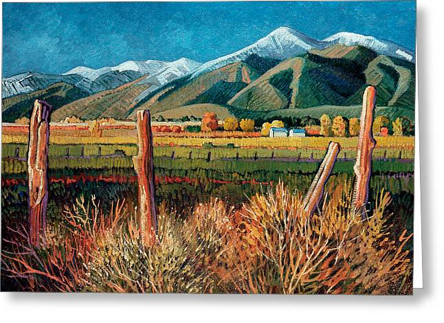 Twilight On Taos Mountain Greeting Card by Donna Clair