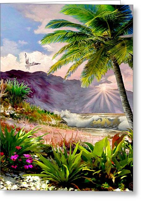 Twilight On The Beach Greeting Card by Ron Chambers