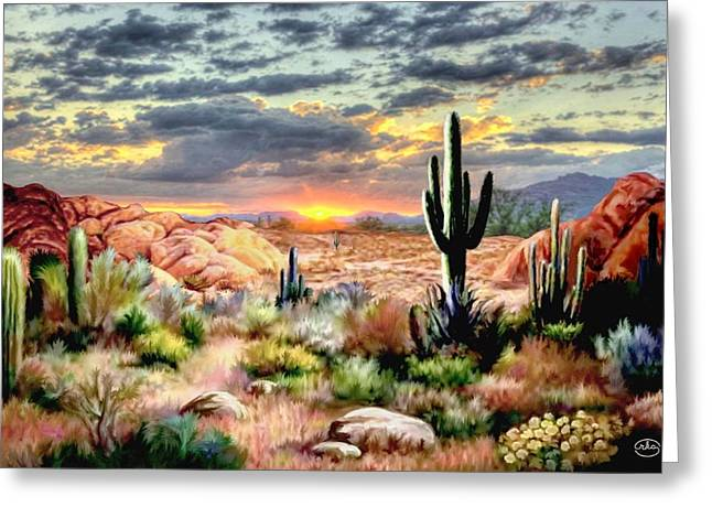 Twilight On The Desert Greeting Card
