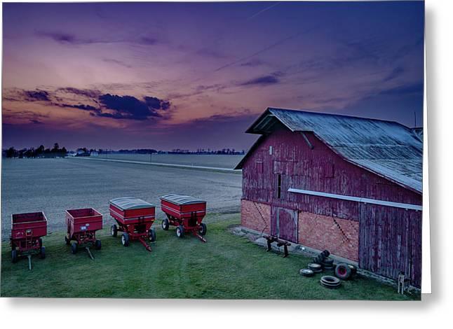 Twilight On The Farm Greeting Card