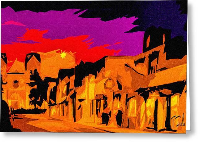 Twilight On The Plaza Santa Fe Greeting Card