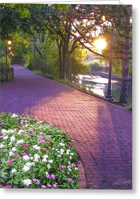 Twilight On The Riverwalk Greeting Card