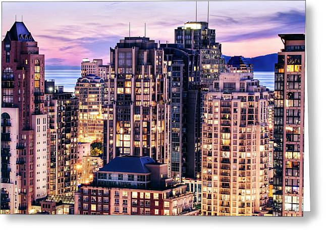 Twilight Over English Bay Vancouver Greeting Card by Amyn Nasser