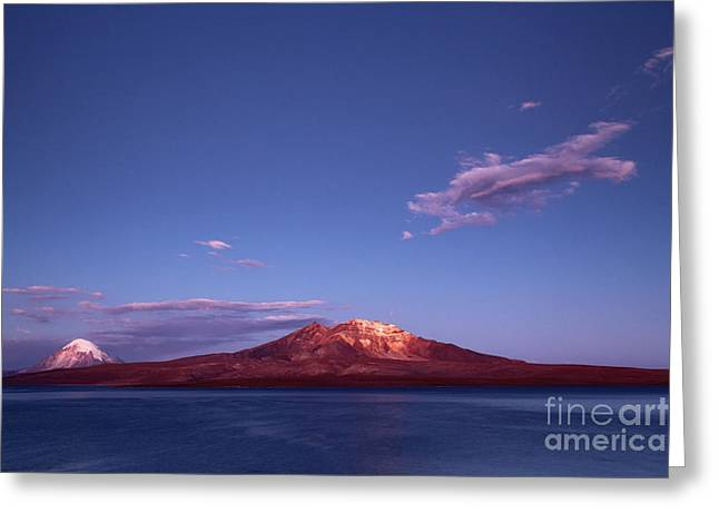 Twilight Over Lake Chungara Chile Greeting Card