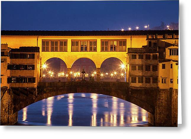 Greeting Card featuring the photograph Twilight Over The Ponte Vecchio by Andrew Soundarajan