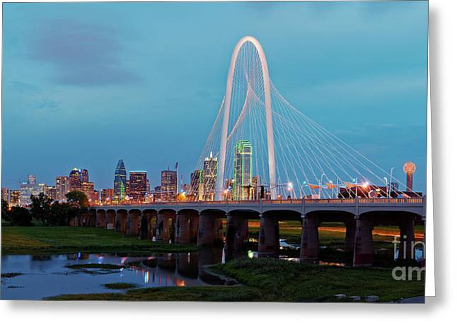 Twilight Panorama Of Downtown Dallas Skyline From Trinity River Overlook - Dallas Texas Greeting Card by Silvio Ligutti