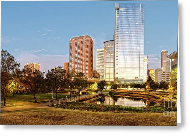 Twilight Panorama Of Downtown Houston Skyline From Discovery Green Urban Park - Houston Texas Greeting Card by Silvio Ligutti