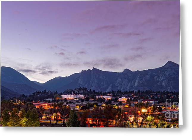 Twilight Panorama Of Estes Park, Stanley Hotel, Castle Mountain And Lumpy Ridge - Rocky Mountains  Greeting Card