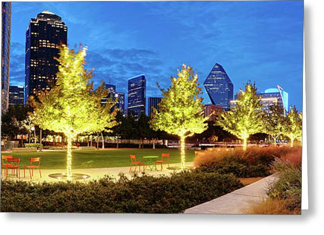 Twilight Panorama Of Klyde Warren Park And Downtown Dallas Skyline - North Texas Greeting Card