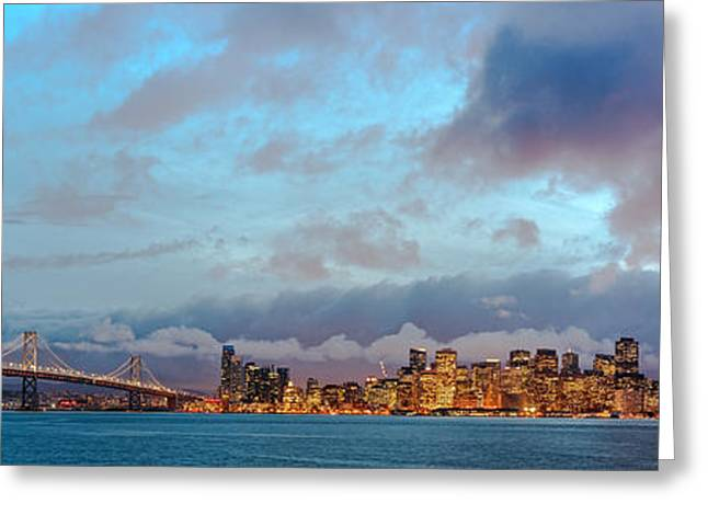 Twilight Panorama Of San Francisco Skyline And Bay Area Bridge From Treasure Island - California Greeting Card by Silvio Ligutti