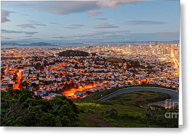 Twilight Panorama Of San Francisco Skyline And Bay Area From Twin Peaks Overlook - California Greeting Card by Silvio Ligutti