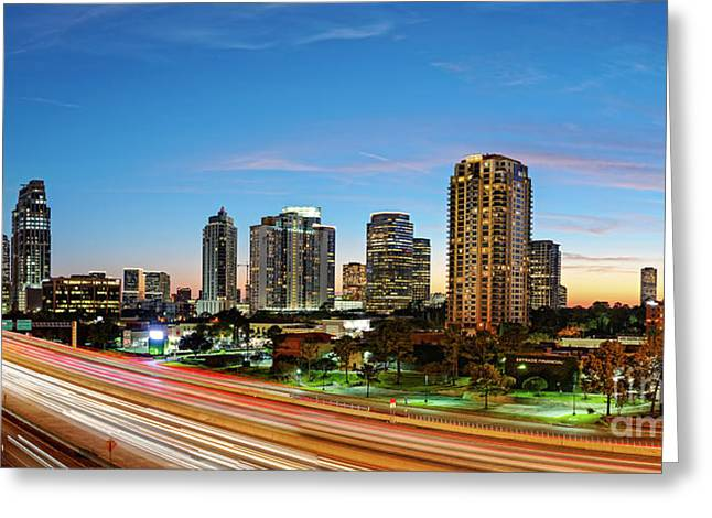 Twilight Panorama Of Uptown Houston Business District And Galleria Area Skyline Harris County Texas Greeting Card