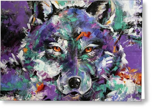 Twilight Purple Wolf Greeting Card