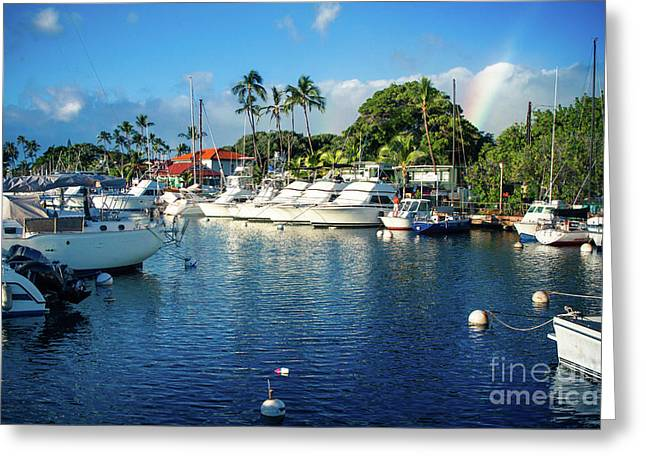 Twilight Rainbow At The Marina Lahaina Harbour Maui Hawaii Greeting Card
